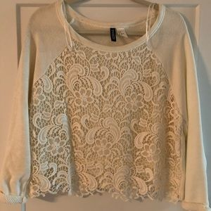 Sweaters - H&M - Lace Crop Sweater